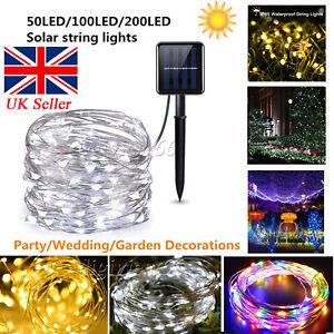 Solar Powered String Lights 200 LED Copper Wire Fairy Lights Gargden Waterproof