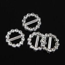 100 PCS Acrylic Silver Round Slider Buckles for Ribbon Wedding Invitations Decor