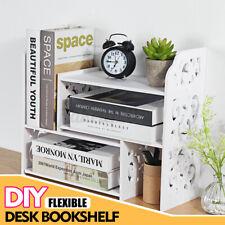 Expandable Openwork Desktop Bookshelf Organizer Shelving Unit Storage Rack White