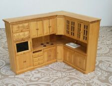 New Listing2 Pcs Wooden Dollhouse Kitchen Furniture 1:12 Sink Stove Cupboards Doll House