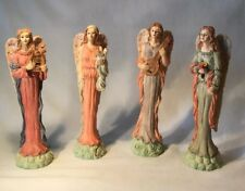 "A Set of 4 8"" Tall Resin Angels Figurines Holding Different Objects - No Marking"