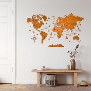"""3D Wooden World Map in Oak XL size 78"""" x 39"""""""