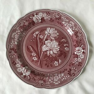 SPODE ARCHIVE COLLECTION BOTANICAL 10 Inch Dinner Plate Red and White NEW