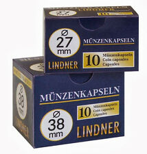 10 Lindner Coin capsules (1 Pack) - Choice - Size 35 mm to 50 mm - NEW