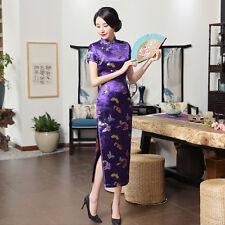 Chinese Qipao women's silk Cheongsam long dress size:S to 3XL
