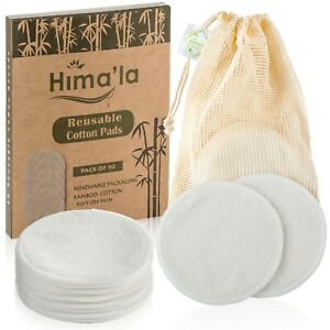 Himala Reusable Cotton Pads (10 Pack) with Free Laundry Bag, Makeup Remover Pads