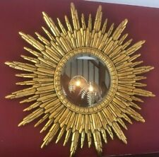 Vintage Style Antiqued Gold Framed Sunburst Sun Mirror 89 cm Diameter Round