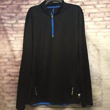 Fila Sports Men's Pullover Athletic Shirt Long Sleeve 1/4 Zip Black/Blue Size XL