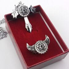 Anime Black Butler Pentagram Logo Cross Wing Necklace & Ring 2pcs/Set