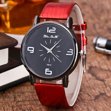 Deluxe Women Quartz Wrist Watch Ladies Faux Leather Band Casual Dress Watch Red