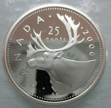 2006 CANADA 25 CENTS PROOF SILVER QUARTER HEAVY CAMEO COIN