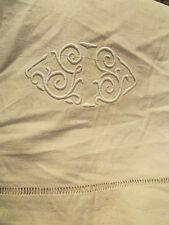 ancien drap metis monogramme GS brodé liseret broderie ajouree