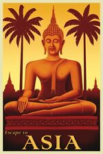 Escape To Asia by Steve Forney - Vintage Travel Buddha Art Print Poster 24x16