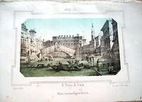 1830 LITOGRAFIA DIPINTA CON VEDUTA DEL PONTE DI RIALTO A VENEZIA INCISA BARBIERI