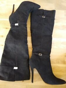 Black Over Knee Boots - High Heels - Size 6 (EU:39) - New in Box