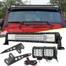 "Fit Jeep JK Wrangler Hood Mounted Bracket + 22"" 1080W LED Light Bar+90W Pods 20"""