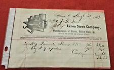 1863 Invoice Akron Stove Co. Akron Ohio ~ Mr. J. T. Seas ~ Dated Aug.21, 1863