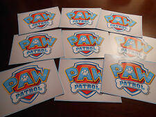 9 Paw Patrol Inspired badge Stickers, Party Supplies, Decorations, Favors