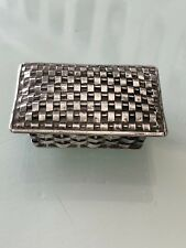 VINTAGE TAXCO MEXICO STERLING SILVER HAND MADE WOVEN BASKETWEAVE BOX /PILLBOX