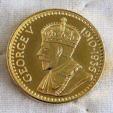 King George V 1910 - 1936 22 kt Placcato Oro Marchiato Argento PROOF MEDAGLIA 21 mm