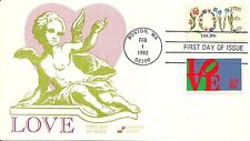 LOVE STAMP FIRST DAY OF ISSUE BOSTON MA 2/1/1982, SPECTRUM COVERS CACHET
