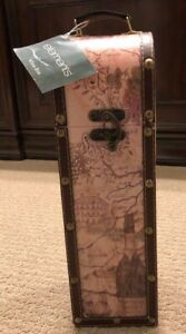 Elements Wine Box - 14 inches Tall Lined - Vinyl with Leather Trim and Handle