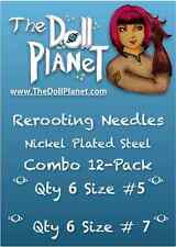 Combo 12-Pack #5 and #7 Steel Cut Needles For Rerooting Dolls & Ponies Int Ship