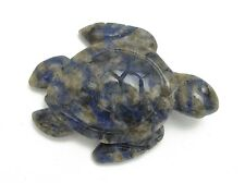 Sea Turtle Sodalite Hand Carved Gemstone Animal Totem Statue Stone Sculpture
