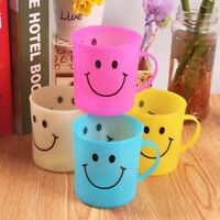 6 x Children's Smiley Face Plastic Cups Mugs Beakers With Handle Kids UK Hot