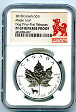 2018 $5 CANADA 1 OZ SILVER MAPLE LEAF DOG PRIVY NGC PF69 FR REVERSE PROOF !!