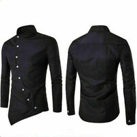 New Luxury Fashion Smart Long Sleeve T-Shirt Tops Casual Men's Formal Slim Fit
