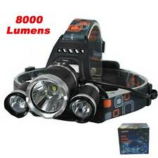 Linterna frontal triple 8000 lumens con gargador