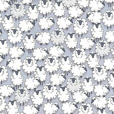 Eyes on Ewe Little Sheep on Gray By The yard cotton print Michael Miller