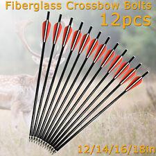 12pcs Crossbow Bolts Fiberglass Arrows Flat Nock for Archery Outdoor Hunting NEW