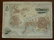 Tallis Map of Town of Plymouth etc Hand Coloured published 1851
