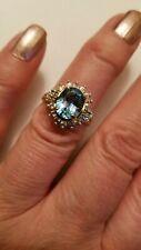4.08 CTW SWISS TOPAZ , WHITE SAPPHIRE & DIAMOND 10K SOLID YELLOW GOLD RING SZ 7