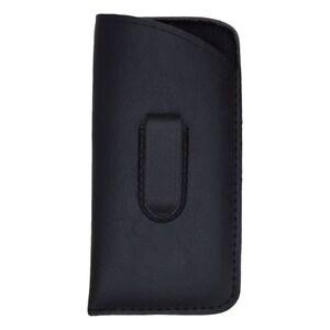 New Soft Slip-In Eyeglasses Readers Case Holder Belt Holster Pouch w Clip, Black