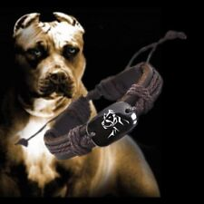 Love Pit Bull Dog Leather Adjustable Pitbull  Bracelet Free Shipping USA Seller