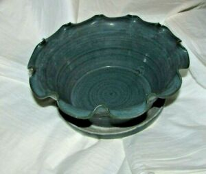 LARGE RUFFLED FLOWER POT ATTACHED BASE EJ KING POTTERY NC 1996 DLC