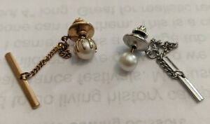 Pearl Tie Tacks - Silver and Gold Color