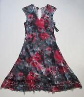 aa460387843 NWT KOMAROV Watercolor Floral Print V-Neck Keyhole Lace Back A-Line Dress S