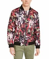 INC Mens Jacket Black Size Medium M Grafitti Front Zip Flight/Bomber $129 #039