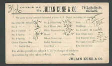 1884 PC Julian Kune Quote On Wheat Barley Oats Bran Etc Chicago IL