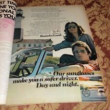 1974 Near Mint Print Ad Poster Ray Ban Sunglasses Bausch&Lomb safer driver day