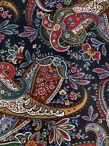 """Cranston Cotton Paisley Sewing Fabric 1 yds + 33"""" Navy Blue Red Brown"""
