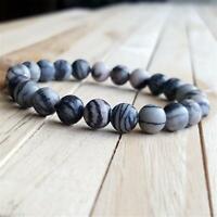 8mm Zebra Jasper Beads Handmade Mala Bracelet Classic Meditation Spiritua