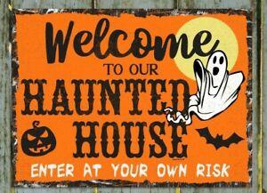 Haunted House Halloween Sign. Cute Rustic Design. Halloween 2021.