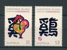Christmas Isl Australia 2017 MNH Year of Rooster 2v Set Chinese Zodiac Stamps