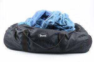 EXC++ PHOTEK 8' x 12' MEDIUM BLUE VELOUR BACKGROUND CLOTH IN A BAG, NICE