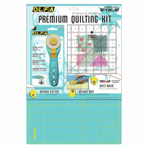 "OLFA Rotary Cutter Quilting Kit Cutting Mat & 6x6"" Ruler - Quilting Fabric Card"
